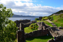 Remains of Urquhart Castle Beside Loch Ness in Scotland Stock Photography
