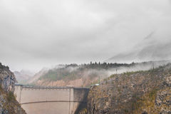 Remains of vajont dam on a cloudy day Stock Photos