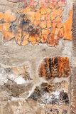 Remains of wall paintings in Roman Herculaneum, Italy. Remains of an wall decoration in the House of Neptune and Amphitrite in the destroyed city of Herculaneum royalty free stock photos