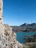 Remains of a wall of Zahara. Lake located in the town of Zahara de la Sierra in the Spanish province of Cadiz, is the coast and mountain scenery in the Stock Photography