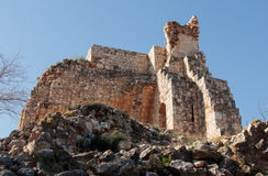 Remains of walls and buildings in the Yehiam fortress Stock Photos
