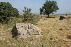 Remains of the walls of Troy Stock Photo