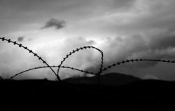 Remains of War 2. Barbed wire and obscured sky Stock Photography
