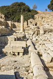 Remains of Water Pipes, Columns and Buildings in the Ruins of an. Ancient city in Cyprus Royalty Free Stock Photos
