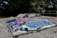 The remains of West Fort Miley beautified under graffiti, 20. By 1885 it was apparent the new West Coast of the United States needed fortification. It took the Royalty Free Stock Photography