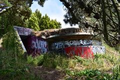The remains of West Fort Miley beautified under graffiti, 23. By 1885 it was apparent the new West Coast of the United States needed fortification. It took the Royalty Free Stock Photos