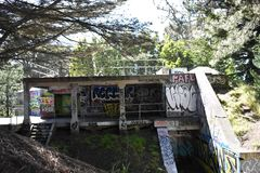 The remains of West Fort Miley beautified under graffiti, 9. By 1885 it was apparent the new West Coast of the United States needed fortification. It took the Royalty Free Stock Images
