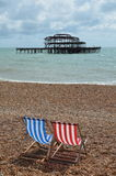 Remains of the West Pier at Brighton. Royalty Free Stock Photography