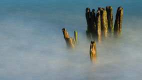 The remains of a wooden breakwater Royalty Free Stock Photography