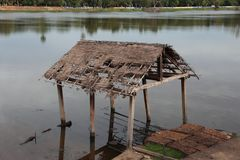 Remains of home in water, Angkor Wat, Cambodia Stock Images
