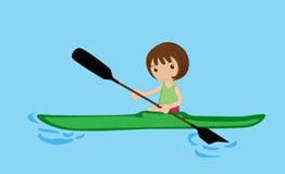 Remando a menina da canoa Fotografia de Stock Royalty Free