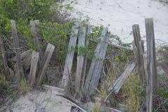 Remanente de una vieja línea de cerca de madera de la duna de arena el piso arenoso foto de archivo