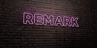 REMARK -Realistic Neon Sign on Brick Wall background - 3D rendered royalty free stock image Royalty Free Stock Photos