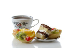 Remarkable dessert. Several fruit pastry against the white background Royalty Free Stock Photography