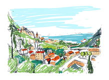Remarkable Georgian landscape sketch. Colorful hand drawn outline vector illustration. Royalty Free Stock Images