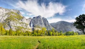 US National Parks, Yosemite National Park, California. Remarkable granite cliffs and waterfalls in mountain landscape - Yosemite National Park, California. US royalty free stock image
