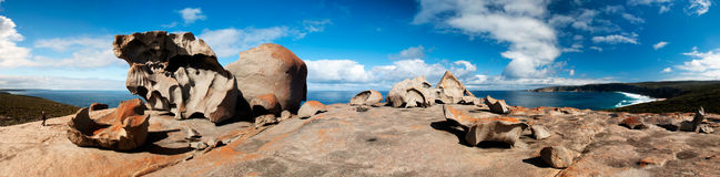 Remarkable Rock Formation (Panorama). Panorama Remarkable Rocks - a natural group of rock formations shaped by erosion of years of sand and surf hitting them. ( Stock Image
