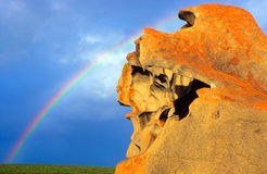 Remarkable Rocks, Australia. Remarkable rocks and rainbow, famous formation in kangaroo island, Australia Royalty Free Stock Photos