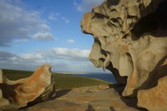 Remarkable Rocks, Kangaroo Island, South Australia. Remarkable Rocks looking like a lion`s face, Kangaroo Island, South Australia royalty free stock image