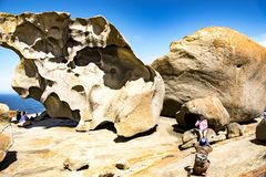 Remarkable Rocks, People taking photos of Remarkable Rocks, Kangaroo Island, Australia Royalty Free Stock Images