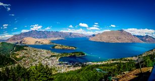 The Incredible Remarkables - or is that the Remarkable Incredibl. Remarkables and Incredibles like the sides of Lake Wanatipu - and nestled in the middle is the Royalty Free Stock Photo