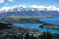 The Remarkables mountain,New Zealand. The Remarkables mountain and Lake Wakatipu, Queenstown, New Zealand Royalty Free Stock Images