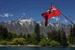 Remarkables mountains and flag Royalty Free Stock Image