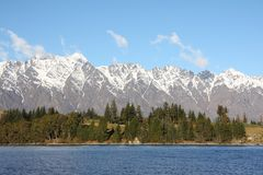 Remarkables mountains in New Zealand. Across Lake Wakatipu to the Remarkables mountain range in New Zealand Royalty Free Stock Photos