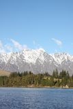 Remarkables mountains in New Zealand. Across Lake Wakatipu to the Remarkables mountain range in New Zealand Royalty Free Stock Images