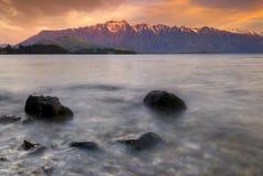 Remarkables, Queenstown, Zuideneiland, Nieuw Zeeland. Stock Foto