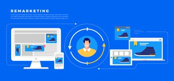 Remarketing цифровой маркетинг иллюстрация штока