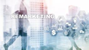 Remarketing affärsteknologi Internet- och nätverksbegrepp Blandat massmedia Finansiellt begrepp på suddig bakgrund vektor illustrationer