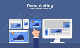 Remarketing digitale marketing royalty-vrije illustratie