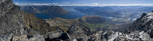 Remarks view panorama. Panorama of view from Remarkable mountains including queenstown in the distance, New Zealand Stock Photo
