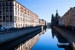 Remblai de canal de Griboyedov à St Petersburg, Russie. Photo stock