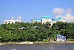 Remblai de fleuve Amur dans Khabarovsk Photos stock