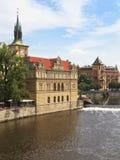 Remblai de fleuve de Vltava, Prague, République Tchèque Photos libres de droits