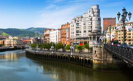 Remblai de rivière d'Ibaizabal Bilbao, Espagne Images stock