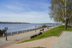 Remblai de ville de Kostroma Photo libre de droits