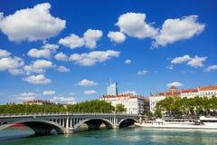 Remblai du Rhône et Wilson Bridge, Lyon photographie stock