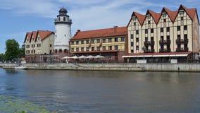 Remblai du village de pêche Kaliningrad banque de vidéos