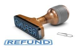 Remboursement d'impôt fiscal, tampon en caoutchouc au-dessus du fond blanc Photographie stock libre de droits