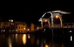 Rembrandt bridge over Rijn in Leiden at night Royalty Free Stock Photography