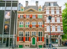 The Rembrandt House Museum where Rembrandt painted most of his paitings in the old Jewish quarter of Amsterdam. Amsterdam May 18 2018 - The Rembrandt House royalty free stock photo