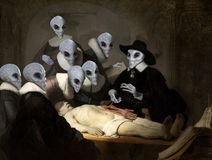 Free Rembrandt Oil Painting, Space Alien Spoof Royalty Free Stock Images - 164098259