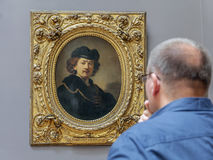 Rembrandt - Self-Portrait Wearing a Toque and a Gold Chain Stock Photos