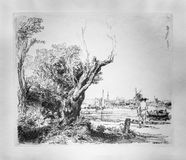 Rembrandt Van Rijn prints, Sketched Landscape. Rembrandt created some 300 etchings and drypoints from about 1626 to 1665 royalty free stock photos