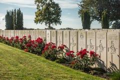 Reme en el cementerio británico de la guerra de Mendinghem, primer, probado, Bélgica foto de archivo