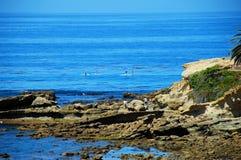 Reme pensionistas fora do parque de Heisler, Laguna Beach, Califórnia Fotografia de Stock