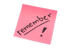 Remeber note Stock Images